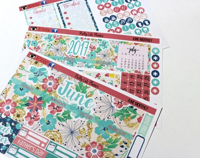 Planner Stickers - Fits Erin Condren June Monthly - June Stickers - June Planner stickers - Monthly Planner stickers - Monthly View