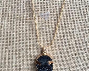 Druzy pendant, Black Druzy necklace, Long druzy pendant necklace