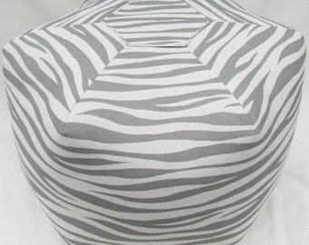 Pouf Ottoman Floor Pillow Premier Prints Miami grey on natural cotton 17 inch