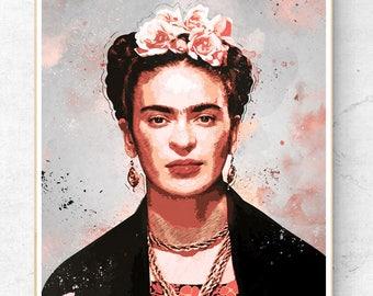 Frida Kahlo poster, Frida kahlo wall art, Frida kahlo print,  Art poster, Stencil art, pop art, Frida kahlo painting, Vintage decoration