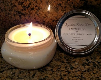 8 oz 100% soy candle, hand poured, in mason jar, available in multiple favorite scents. FREE SHIPPING!