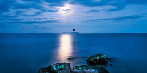 MOONLIGHT AT MUDEFORD. Seascape Print, Dorset Picture, Mudeford Spit, Sea at Night, photographic Print