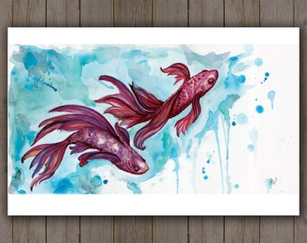 Watercolour Art Print - Koi Fish Swimming / Red Purple Beta Fish Water / Splatter Splash Handpainted Watercolor Painting / Ocean Art