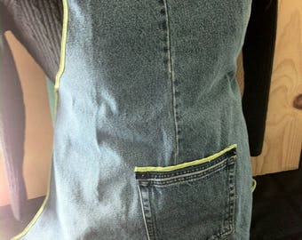 One pocket Jean Apron with Lime trim and ties