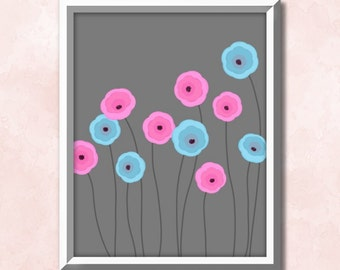 Art deco poster, floral art print, modern art, flower print, wall art printable, floral printable, abstract printable, downloadable decor