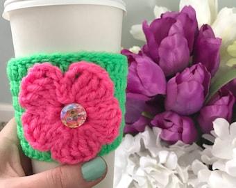 Spring Flower Coffee Cozy | Crochet Cozy | Coffee Sleeve