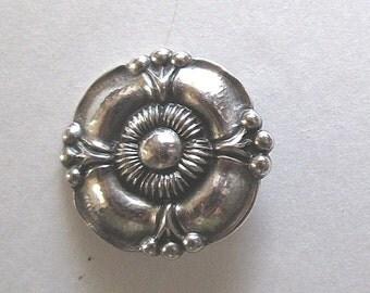 Georg Jensen Brooch Pin Vintage Denmark Sterling Silver Floral Design