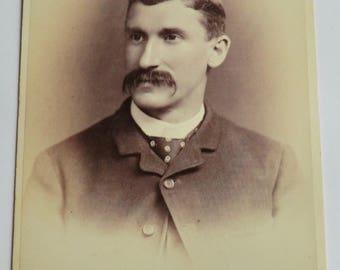 Cabinet Photo Handsome Man Mustache Dotted Tie Philadelphia
