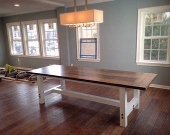 Handcrafted Farmhouse Dining Table with Stringer Base