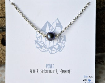 Black Pearl stainless steel necklace