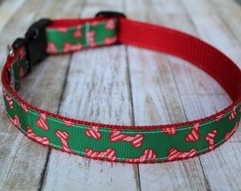Christmas Dog Collar - Red and Green Dog Collar - Winter Dog Collar - Personalized Dog Collar - Dog Bone Collar - Holiday Dog Collar