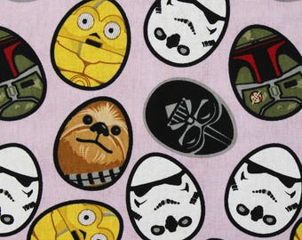 "Easter Egg Star Wars on purple fabric, By the Half Yard, 45"" wide, 100% cotton - holiday fabric - darth vader fabric - star wars fabric"