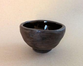 Black clay chawan