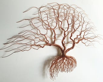 Huge Metal Wall Art, Original Bonsiree Handmade Tree Sculpture 110x68x12 cm