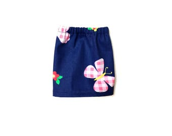 Pencil Skirt, Mini Skirt, Denim, Butterfly, Blue, Pink, Red, Green, Fits dolls such as AG,  Wellie Wishers, 14 inch Doll Clothes, 14.5