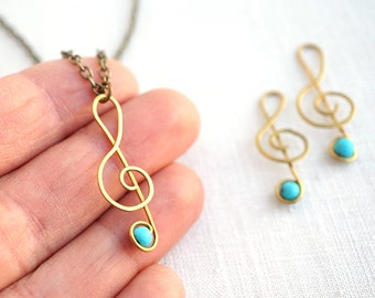Music Gift Hand Forged Turquoise Music Necklace Music Gift for Men Women Musician Teacher Music Lover Treble Clef Necklace Music Note