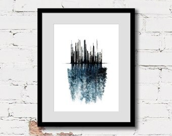 urban wall art print, forest illustration art, urban abstract art, blue art poster, conceptual art print, black blue modern contemporary art