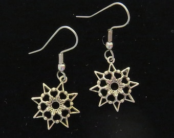 Snowflake Earrings 24 Karat Gold Plate Dimensional Detailed or Oxidized Matte Silver Snowflakes Winter Snowing Christmas EG266 / ES230