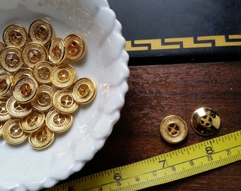 Pack Of 8 - Gold Buttons - Round Buttons - Plastic Buttons - Ornate Buttons - Vintage Buttons - New Old Stock - Deadstock - Four Hole Button