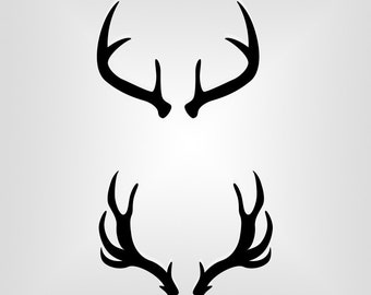Deer Antlers, Outline, Silhouette, Cutout, Vector art, Cricut, Silhouette Cameo, die cut, instant download, Digital Cut, Print Files, Svg