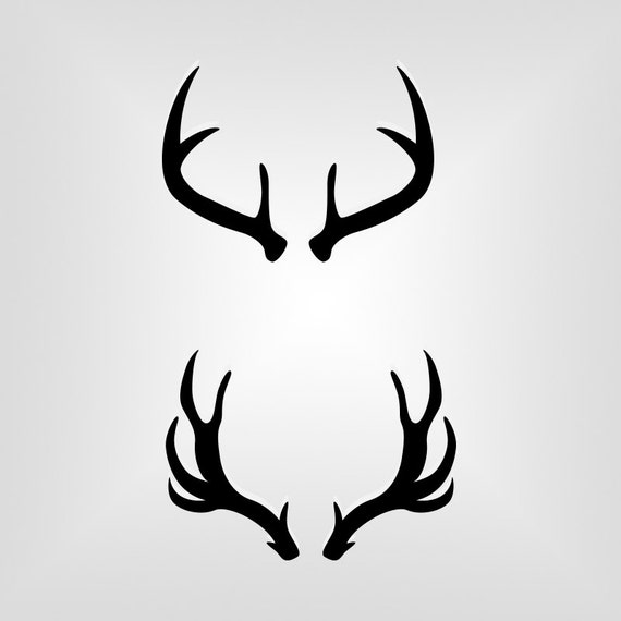 Deer Antlers Outline Silhouette Cutout Vector art Cricut