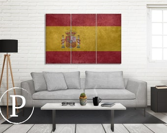 Spain Flag Canvas, Single Panel Large Canvas, Three Panel Large Canvas, Spain Flag, Large Canvas Wall Art, Vintage Flag on Canvas