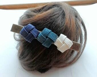 Blue hair clip, hair clip blue, hair clip, Japanese, gift, kimono, simple, rustic, eco friendly,