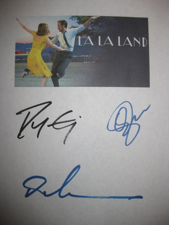 La La Land Signed Film Movie Script Screenplay Autograph X3 Ryan Gosling Emma Stone Damien Chazelle signature reprint oscar nominated film