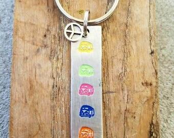 Hand stamped hippie bus keychain. Hippie chick gift. Hippie van stamp.