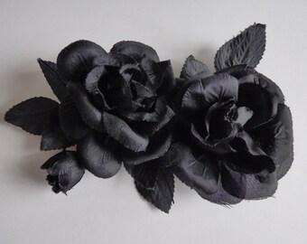 Vintage millinery flowers. ROSE. Hat trim. Flower spray - vintage rose - black rose - millinery rose - headdress - head piece - corsage