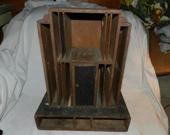 Desk Organizer - Vintage Art Deco Style Organizer for letters and desk supplies - Distressed Desk Caddy w/ Different size cubby holes  B-33