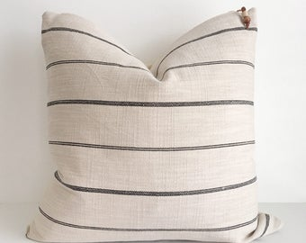 Cream and black striped pillow cover 18x18