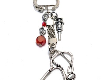 Keychain, nurse,doctor,purple,red,blue,gift,glass,stethoscope,crystal,health,care,healt care