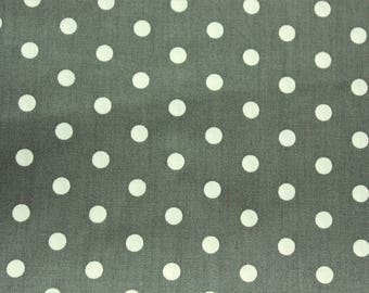 Polka dot Fabric, Cotton Fabric, Gray, Medium Dots, Grey, Basic Essential, Quilting Dressmaking Sewing Patchwork Supplies, Wide, Half Metre