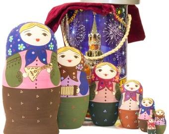 "Russian Nesting Doll - BIG SIZE - 7 dolls in one - ""Babushka with Balalayka"" - Hand Painted in Russia - Traditional Matryoshka Babushka"