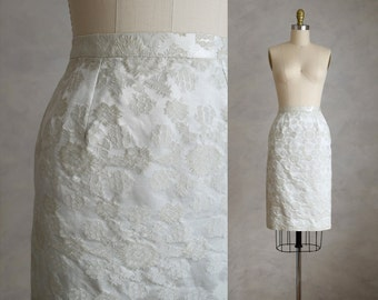 vintage brocade pencil skirt | 50s 60s wiggle skirt | champagne brocade skirt  | bridal shower or engagement party skirt