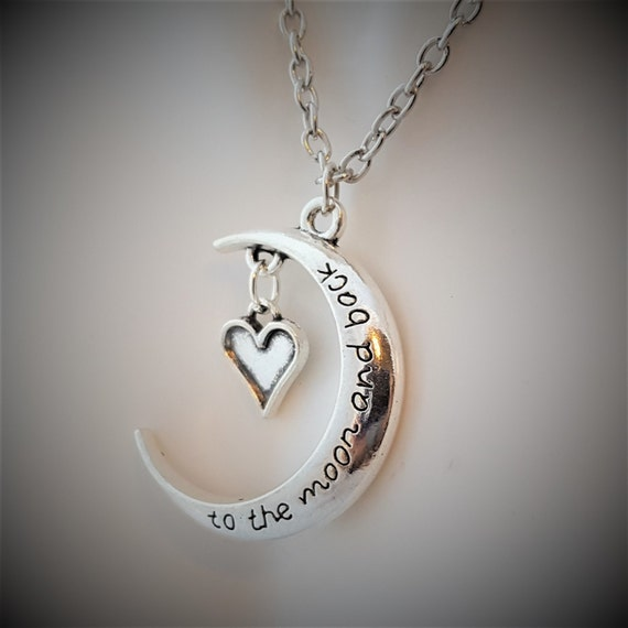 Jewelry for Girls, Love You to the Moon and Back, Heart Charm Necklace, Gifts for Daughter, Gifts for Mom Grandma, Word Charm Quote Necklace