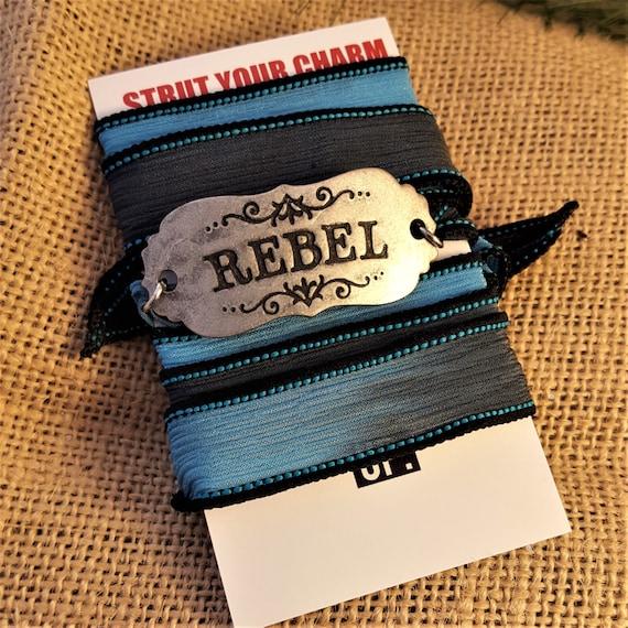 Fitness Jewelry, CrossFit Wrist Wrap, REBEL Mascot Bracelet, Silk Ribbon Cuff, Motivational Inspirational Sports Team Gifts, Rebel Charms