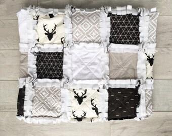Modern baby rag quilt - black, white and cream antler quilt - crib size - baby bedding