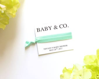 Baby & Co. Baby Shower Personalized Hair Tie Favor | Custom Baby Shower Favor | Tiffany Theme Shower | Breakfast at Tiffany's | Baby and Co