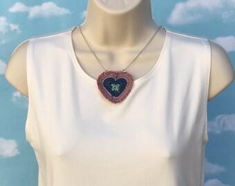 Heart pendant necklace.  Statement.  One of a kind, unique.  Various lengths