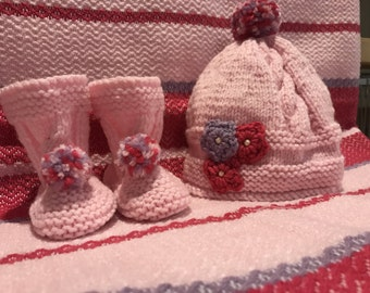 Baby Pink set blanket hat weaving loom cover Baby Slippers pink fuchsia and lilac