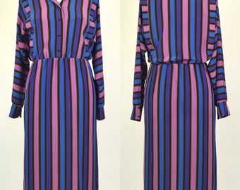 Vintage size 10 (S) purple and blue bold striped 80s batwing dress with buttons