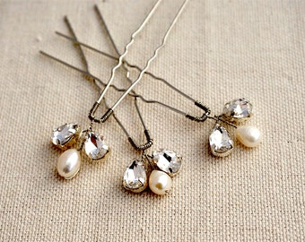 Crystal Bridal Hairpin Set, Crystals and pearls hairpins,  silver hairpin, Bridal hair accessories 1