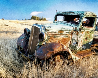 Old car, Rustic decor, Farmhouse decor, vintage car, color photograph, Car wall art, rustic print, rustic photograph, farmhouse photography.