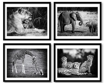 Animal baby print,Set of 4 prints,Nursery decor,Animal decor,Cheetah family,Animal wall art,Nursery Art,African Wildlife,Wildlife print,