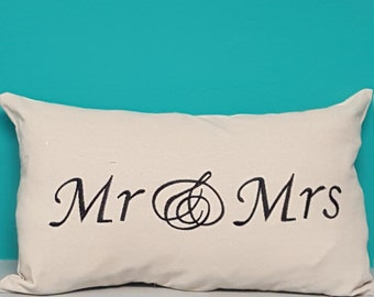 SALE!!!  Mr. and Mrs. pillow sham embroidered on pillow.  Unique wedding gift! - pillow sham only