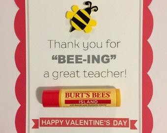 Teacher Bee Valentine's Day card