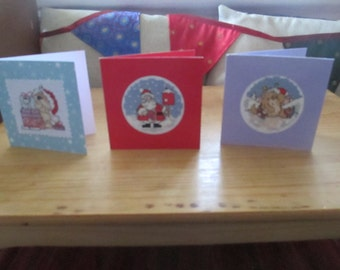 CLEARANCE 50% OFF Christmas Set of 3 Handmade Cards Cross Stitch