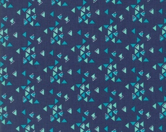 Moda Fabric  Spectrum Triangles in Indigo by V & Co - 10862 16 - Navy - Cotton fabric by the yard